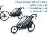 Thule Chariot Sport 1 Blue + bike set + běžecký set + kočárkový set