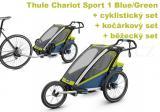 Thule Chariot Sport 1 Blue/Green + bike set + běžecký set + kočárkový set