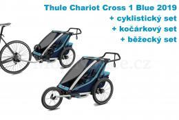 Thule Chariot Cross 1 Blue 2019 + bike set + běžecký set + kočárkový set - zvětšit obrázek
